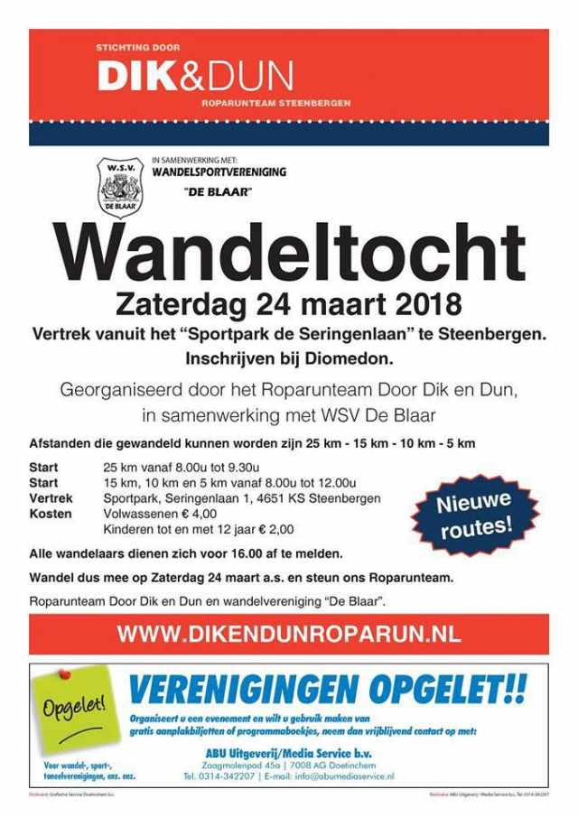 Flyer Wandeltocht 2018